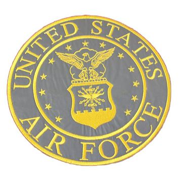 motorcycle patch united states air force grey and yellow reflective