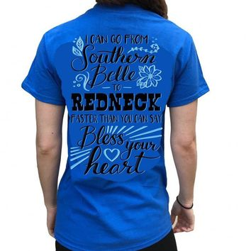 Country Life Outfitters Southern Attitude Southern Belle to Redneck Bright T Shirt