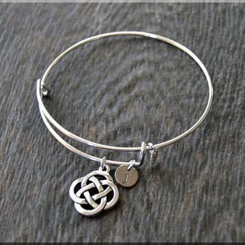 Silver Celtic Knot Charm Expandable Bangle Bracelet, Adjustable Bangle, Stacking Charm Bracelet, Personalized Charm Bangle, Celtic Jewelry