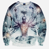 Hindu God All Over Print 10 Armed Man With Tree Brain Spiritual Grey And Blue Crew Neck Sweatshirt