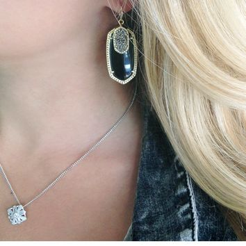 Emmy Drop Earrings In Black Galaxy Kendra Scott Jewelry