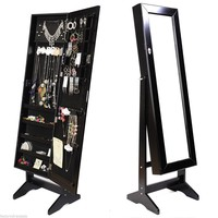 Mirrored Jewelry Cabinet W/Stand Mirror Amoire Organizer Storage Box Rings Black