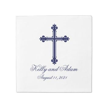 Religious Cross Personalized Wedding Paper Napkin