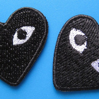 2 pcs iron-on Embroidered Patch play heart 1.5 inch