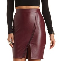Faux Leather Envelope Skirt by Charlotte Russe - Burgundy
