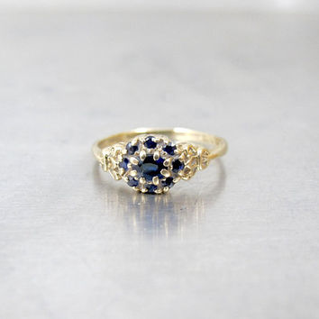 Blue Sapphire Halo Ring. Vintage 9K Yellow Gold Dark Blue Sapphire Cluster Flower Ring. British Hallmarks. September Birthstone Jewelry.