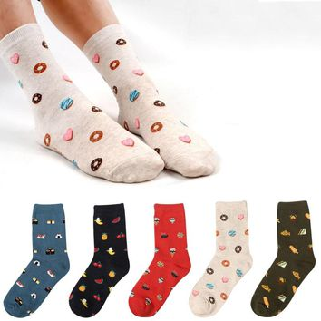 New Arrival! Fruit Cherry watermelon Pizza Sushi pineapple sandwich ice cream Biscuits Donuts Socks Women Cotton Cute Food Socks