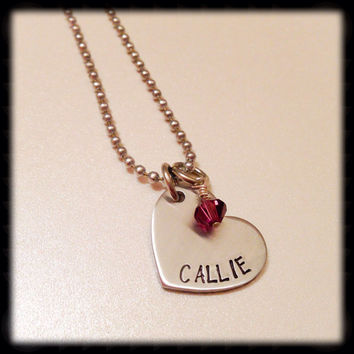 Handstamped name necklace. Heart necklace. Personalized necklace. Hand stamped necklace. Handstamped necklace.