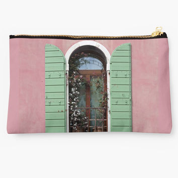 'Venice Window In Pink And Green' Studio Pouch by BrookeRyanPhoto