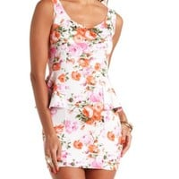 SLEEVELESS FLORAL PRINT PEPLUM DRESS