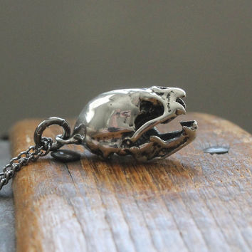 Vampire Bat Skull Necklace Silver Vampire Bat Skull Pendant Necklace Vampire Bat Skull Jewelry 090