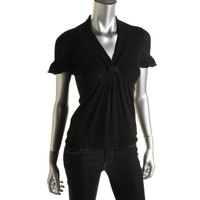 Catherine Malandrino Womens Knot-Front Pleated Knit Top