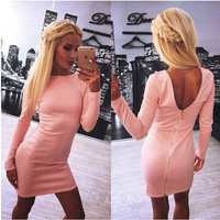 Sexy Club Dress Hot 2015 Women Long Sleeve Winter Dress Vestidos casuales cortos verano Casual Bandage Bodycon Party Dresses