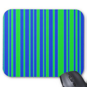 Green and Blue Stripes Mouse Pad