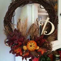 Fall Thanksgiving Harvest Initial Wreath