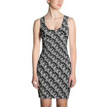 Pattern Crown Logo ( Black and White Glowing Edges) Dress
