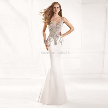 Fashion Design Elegant Beaded Mermaid Long Evening Dresses 2016 Formal Prom Party Dress
