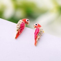 Lovely Parrot Rhinestone Earrings by goodbuy on Zibbet