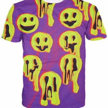 Acid Wax Smile All-Over Print Sublimated Purple T-Shirt