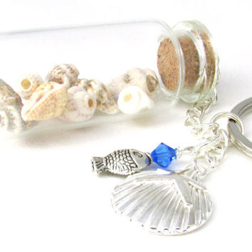Beach Keychain, Beach Key Chain, Shell Keychain, Seashell Bottle Keychain, Car Accessory, Fish Keychain, Beach Accessory