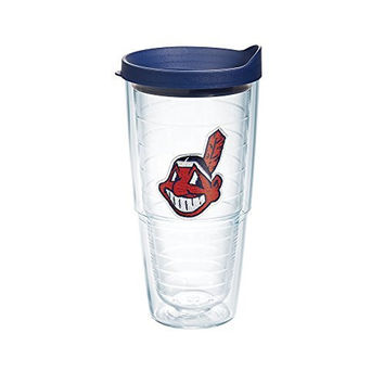 "Tervis 1039021 ""MLB Cleveland Indians"" Tumbler with Navy Lid, 24 oz, Clear"