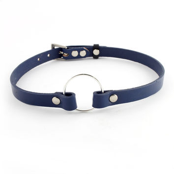 Navy Blue Leather Charm Choker