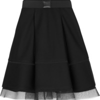 Donna Karan New York - Pleated mesh-trimmed scuba-modal skirt