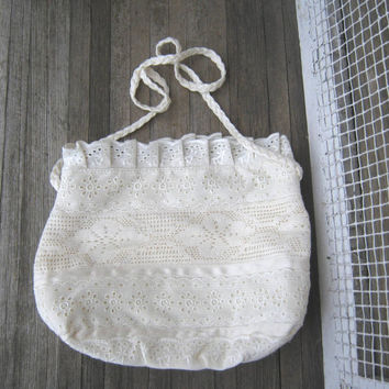 Vintage Ribbon & Lace Purse by Carpetbags of America - Romantic, Off-White Shoulder Bag - Lace and Cotton Purse - Feminine Purse