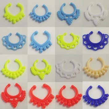 5pcs Mix Design Acylic Neon Candy Nose Ring Clip Fake Piercing Ring Stud Punk Goth False Hoop Earrings Septum Limited Edition