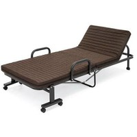 Twin Size Rollaway Adjustable Bed Frame with Brown Mattress