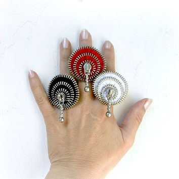 Upcycled, recycled, repurposed, zipper ring, plated silver ring, 1 piece, Ring is adjustable.eco friendly, recycled jewelry