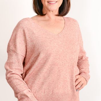 Rose Marled Back Tie Sweater