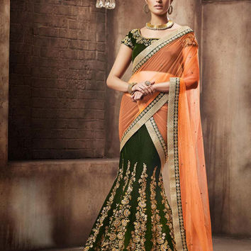 Green Velvet Bridal Lehenga Saree