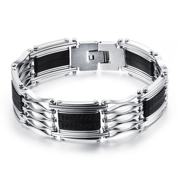 Silicone wrist strap with fret pattern Hollow stainless steel handchain large and wide
