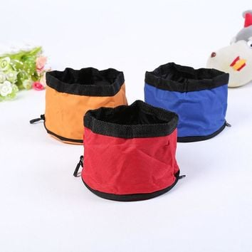Foldable Oxford Dog Cat Cloth Bowl Travel Portable Food Water Feeder Waterproof Dish Zippered Bag