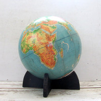 "Vintage Cartocraft Denoyer Geppert Large World Globe with Blue Oceans and Wood Stand, 16"" diameter (c.1960s)"