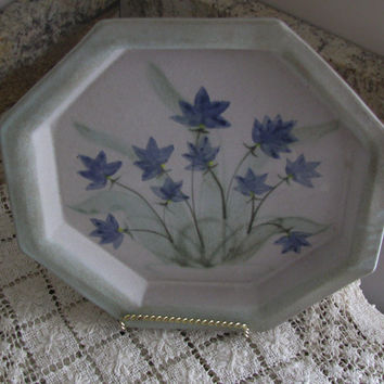 Octagon Pottery Luncheon Plate, Decorated With Pretty Blue Bell Flowers, Sage Green Border, Perfect Gift For A Plate Coilector