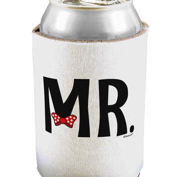 Matching Mr and Mrs Design - Mr Bow Tie Can / Bottle Insulator Coolers by TooLoud