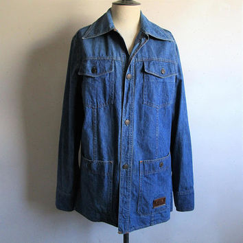 Vintage 70s Levi Work Jacket RARE Safari Blue Cotton LEVIS Light Coat Medium Made in USA