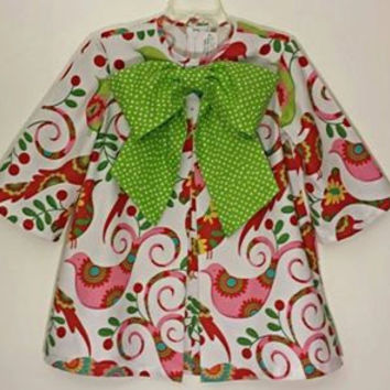 Girls Christmas Dress~Pretty Bird~Girls Vintage Inspired Pleat Front Dress and Polkadot Bow adorning front~ Traditional Holiday Colors