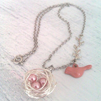 Bird and eggs in a nest necklace, OOAK