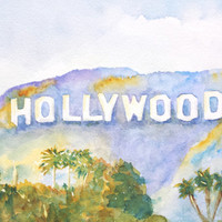 Original Watercolor, Landscape Painting,Hollywood sign, California,  8x10, famous landmark,Los Angeles, Purple Mountains, Green palm trees