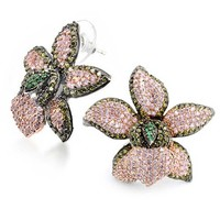 Bling Jewelry Tropical Orchid Stud