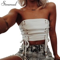 Lace Up Strapless Crop Top