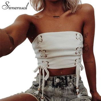 Simenual Lace up 2018 summer crop top tube female bow tie strapless sexy white fitness vest shortened tops cropped camisole sale