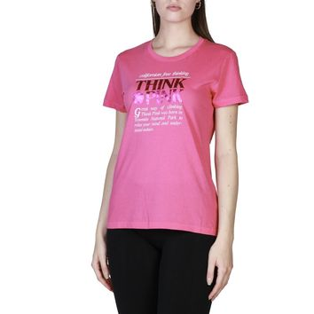 Think Pink Round Neck Short Sleeve T Shirt
