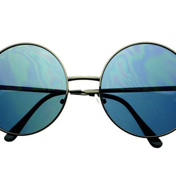 Retro Vintage Extra Large Oversized Metal Circle Round Sunglasses R1070