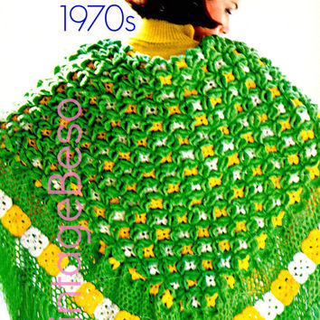 Ladies SHAWL CROCHET PATTERN Vintage 70s Green Grows the Shawl Crochet Pattern Motif Bohemian Clothing- Pdf Pattern - Instant Download