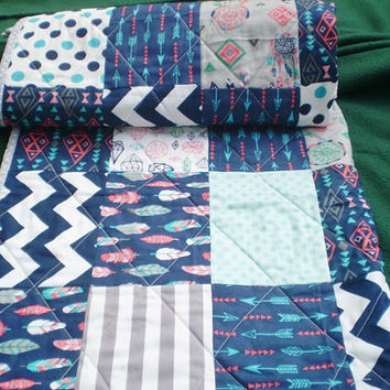 Baby quilt,navy blue,grey,teal,coral,Baby boy bedding,baby girl quilt,Tribal Crib quilt,Aztec,arrows,feathers,Southwest,chevron,Tribal Baby