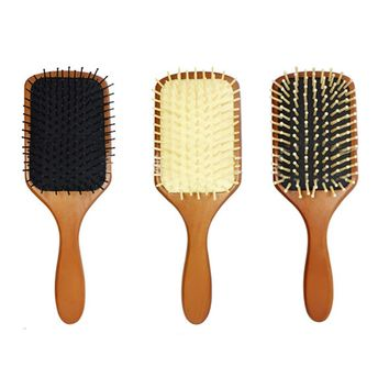 Wooden Paddle Hair Brush Health Care Scale Head Massage Comb Women Wet Curly Detangle Hair Brush Salon Hairdressing Styling Tool